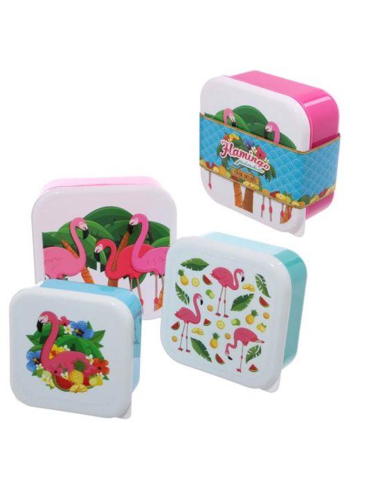 Flamingós uzsonnás doboz szett, 3 db/szett