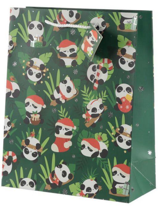 Panda ajándéktáska, karácsonyi, 33x26x12cm, nagy