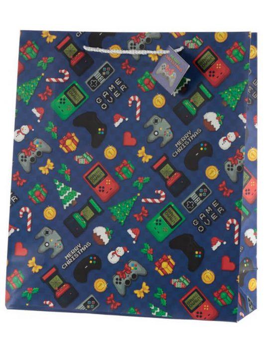 Game Over ajándéktáska, karácsonyi, 40x35x12cm, extra nagy