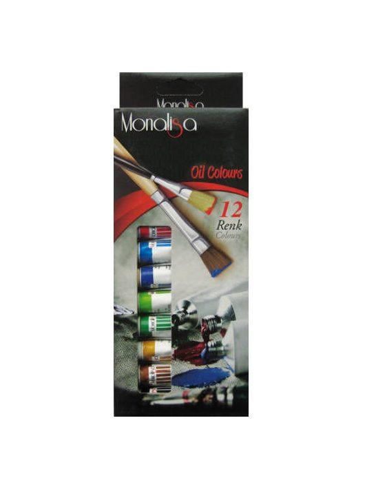Olajfesték készlet, színes, 12x12ml, Mona Lisa
