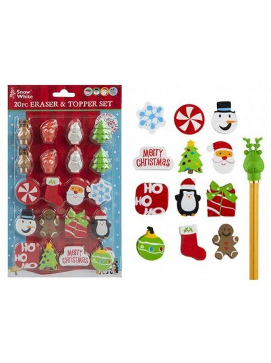 Karácsonyi radír- és ceruzadísz készlet, 20 db-os