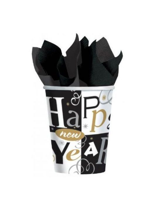 Happy New Year, szilveszteri műanyag pohár, 266ml, 8 db/csomag