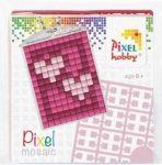 Pixel kulcstartókészítő szett 1 kulcstartó alaplappal, 3 színnel, szívek