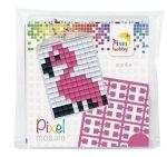 Pixel kulcstartókészítő szett 1 kulcstartó alaplappal, 3 színnel, flamingó
