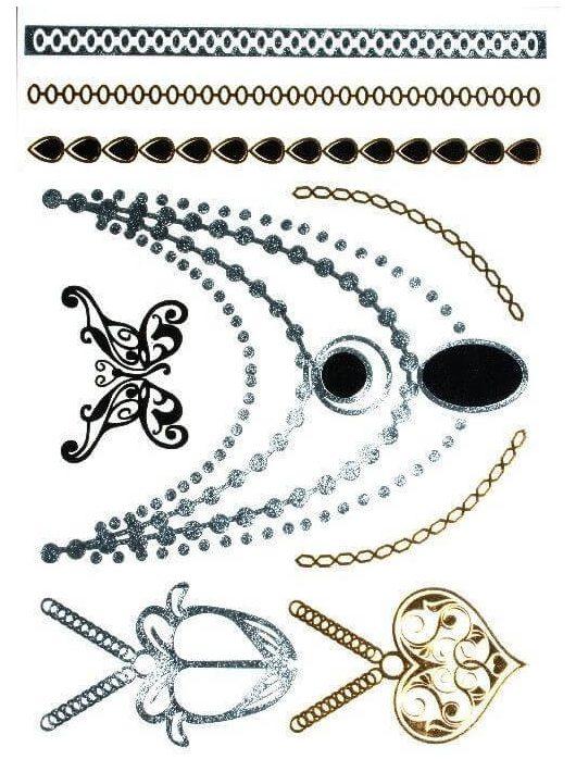 Aranytetoválás, nyakláncok, karkötők, 14x21cm