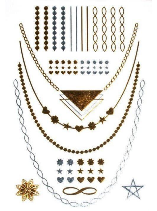 Aranytetoválás, nyakláncok, karkötők, minták, 14x21cm