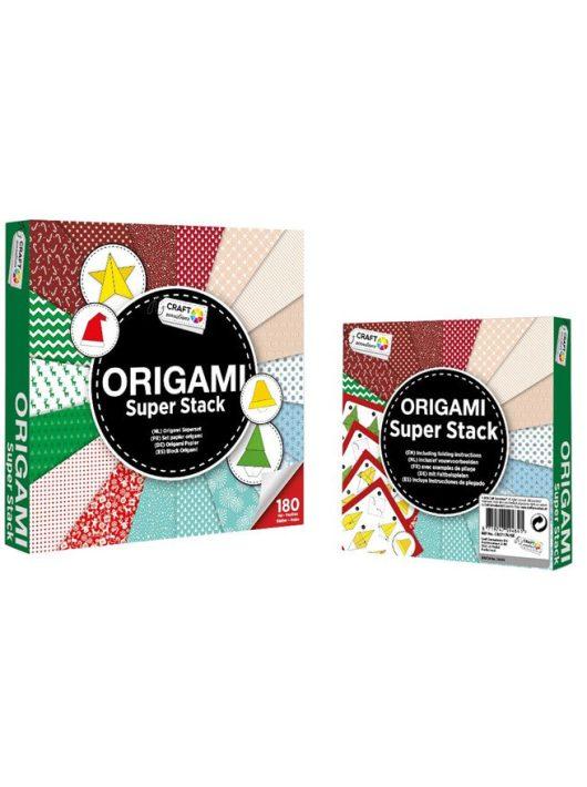 Mintás papírok, origami hajtogató lapok, 15x15cm, 75g, 180 lap/cs, karácsonyi