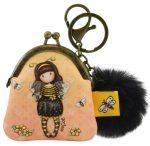 Santoro Gorjuss, kulcstartós pénztárca 8x7x4cm pom-pommal, Bee-Loved