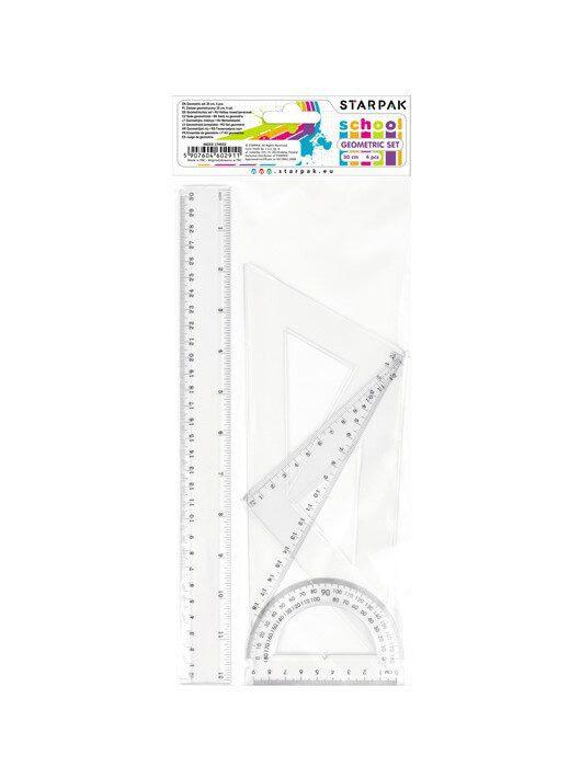 Vonalzókészlet, nagy, műanyag, 4db-os (egyenes 30cm, szögmérő, 2 háromszög)