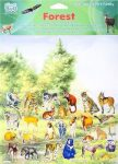 Újraragasztható matricák, háttérrel, erdős