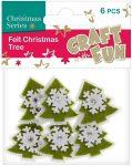 Filc formák, karácsonyfák, zöld-fehér, 6db/cs