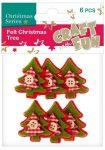 Filc formák, karácsonyfák, zöld-piros, 6db/cs