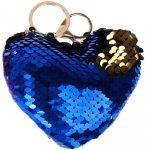 Starpak flitteres kulcstartó, táskadísz szív alakú, kék-arany (átfordulós)