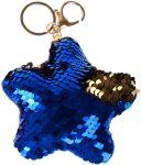 Starpak flitteres kulcstartó, csillag alakú, kék-arany (átfordulós)