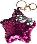 Starpak flitteres kulcstartó, csillag alakú, rózsaszín-ezüst (átfordulós)