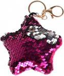 Starpak flitteres kulcstartó, táskadísz csillag alakú, rózsaszín-ezüst (átfordulós)