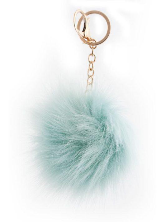 Pom-pom, plüss kulcstartó, táskadísz, halványzöld-türkiz