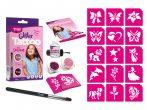 Csillámtetoválás szett, Mini, Kislányos (rózsaszín) 15 sablonnal és 2 csillámporral
