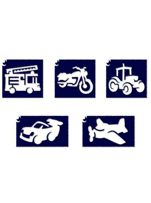 Sablonok, 5 db-os, kisfiús, járművek