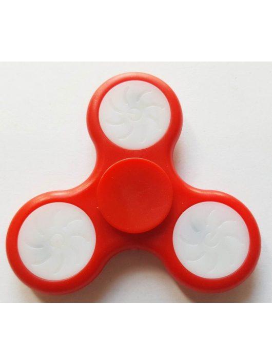 Fidget Spinner, ujjpörgettyű, LED világítással, piros